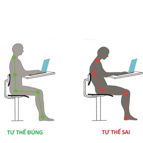 Ngồi đúng tư thế trước máy tính